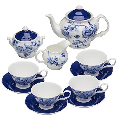 Grace Teaware Bone China 11-Piece Tea Set Bali Blue