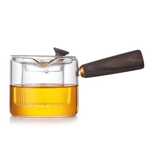 ONEISALL 400ML Borosilicate Glass Teapot With Liner Filter Office Boil Tea WareDurable Coffee PotGlass Tea Maker With Wooden Handle