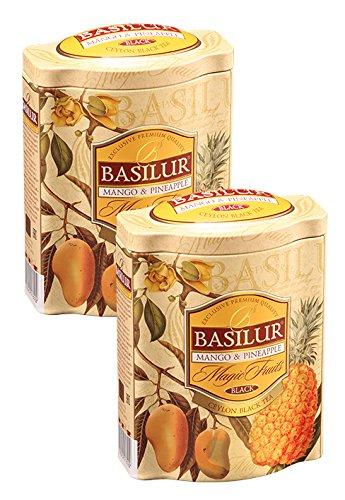 Basilur  Mango Pineapple Tea  Perfect for Summer Iced Tea  Real Bits of Fruits  Ceylon Black Loose Tea  Single Origin Tea  100g 352 oz Tin Caddy  Pack of 2