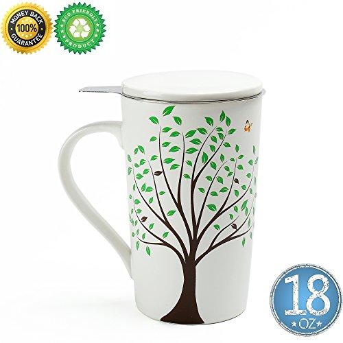 Ceramic Tea-Mug18 oz with Infuser and Lid TEANAGOO-Jupiter Travel Teaware with Filter 3D Green Tree Tea Cup Steeper Maker Brewing Strainer for Loose Leaf TeaDiffuser Set for Tea Lover Gift