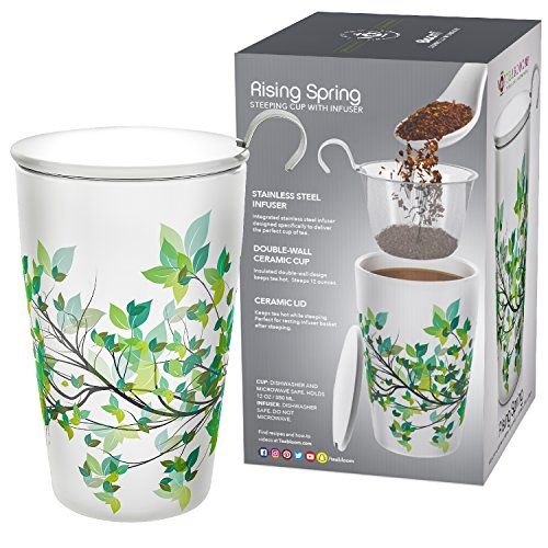 Teabloom BLOOMI Double Wall Insulated Ceramic Brewing Cup with Infuser Basket and Lid for Steeping – Loose Leaf Tea Maker – Intelligent Beautiful Infuser Mug Design – Rising Spring