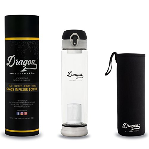 Glass Infuser Bottle by Dragon Glassware - 14oz Tea Infuser Travel Mug with Flip-Top Lid and 2 Stainless Steel Infusers  Travel Sleeve - 4 in 1 Loose Leaf Tea Coffee Fruit Infused Water Smoothies