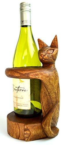 Hand Carved Wooden Cat Kitten Wine Bottle Holder Stand Tabby Siamese Meditating Yoga