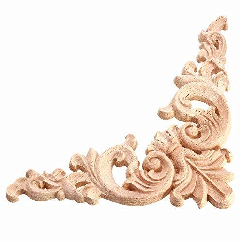 Raza Hot Sale 1PC 125 x 125cm Wood Oak Carved Corner Onlay Applique Furniture Unpainted Decorative Figurines Wooden Miniatures