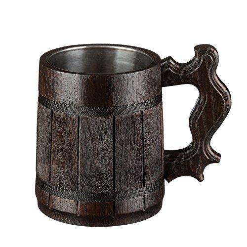 Beer Mug  Wooden Beer Mug  Tankard  Wood Mug By WoodenGifts - 06 Litres Or 20oz Wooden Mug - Wooden Coffee Mug with Stainless Steel Cup Inside Dark Brown