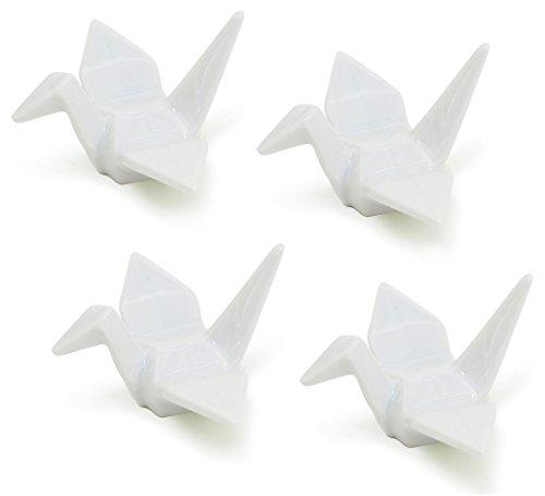 Happy Sales HSCRCRN4 set of 4 White Porcelain Crane Rests  Chopstick Rest set
