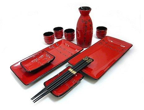 MySushiSet - 11 PCS Scarlet Red Sushi and Sake Set for Two with Chinese Script
