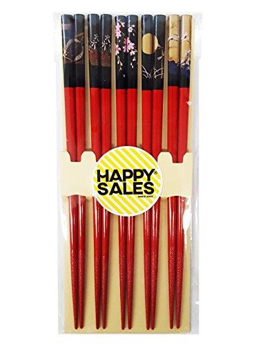 Happy Sales HSCH84S  Bamboo Chopsticks Gift Set Crane Design Scenery Red