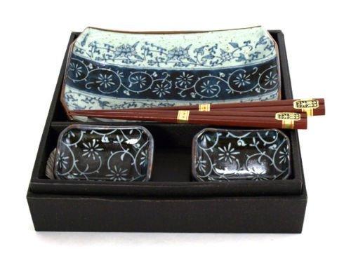 Japanese Porcelain Manyo Karakusa Sushi Sashimi Plates Dishes Chopsticks Gift Box Set