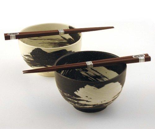 Japanese Stoneware Bowls with Chopsticks Gift Set Brush Black and White