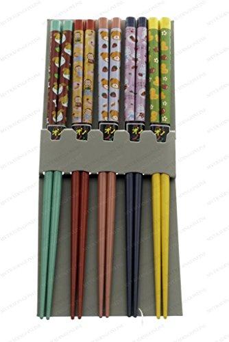 MV Trading Co NSI900285 5 Pair Japanese Chopsticks Gift Set with Many Variety Designs Bamboo