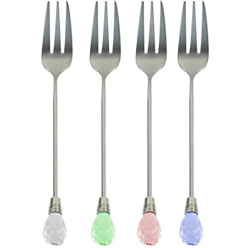 kilofly Rhinestone Stainless Steel Party Dessert Pastry Fork Value Pack 4 Sets