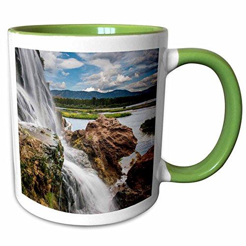 3dRose Danita Delimont - Waterfalls - Fall Creek Waterfall South Fork of Snake River Swan Valley Idaho - 11oz Two-Tone Green Mug mug_210340_7