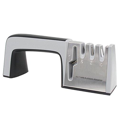 Xcellent Global 4 in 1 Knife Scissors Sharpener Portable 4 Stages Professional Chef Kitchen Steel Ceramic Knife Sharpener Kit Black HG157
