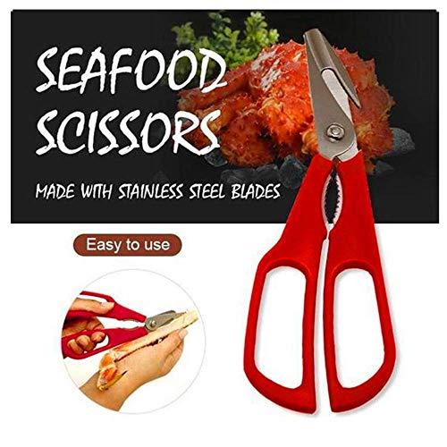 2019 Shrimp Deveiner Set Seafood Scissors Crab Leg Cleaner Lobster Cracker Tool 19cm Red