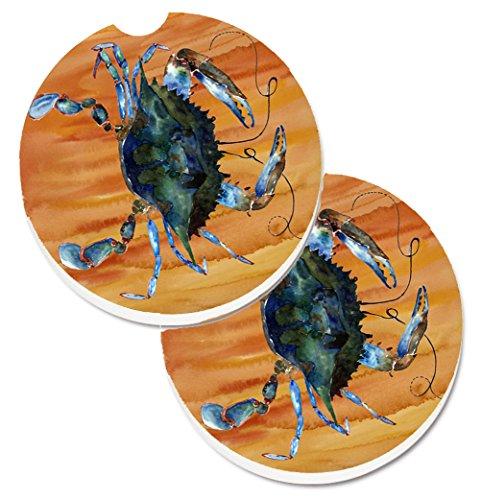 Carolines Treasures 8143CARC Crab Set of 2 Cup Holder Car Coasters Large multicolor