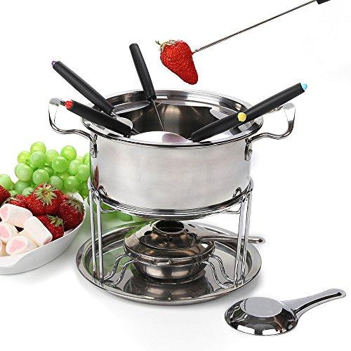 Fondue pot set Fondue Maker Stainless steel of 6 forks DIY chocolate fondue set silver  Meat Cheese Fondue Sets