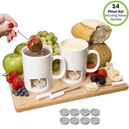Evelots Personal Fondue Mugs-NEW IMPROVED-Ceramic-Microwave Safe-14 Piece Set