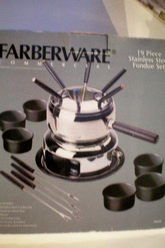 Farberware Commercial 19 Piece Stainless Steel Fondue Set Set includes Stainless Steel Fondue Pot Stand on Metal Base Burner 10 Fondue Forks 6 Ceramic Ramekins Instructions on Inside Panel -- New in Box as shown