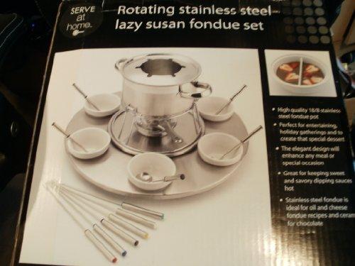 Rotating Stainless Steel Lazy Susan Fondue Set