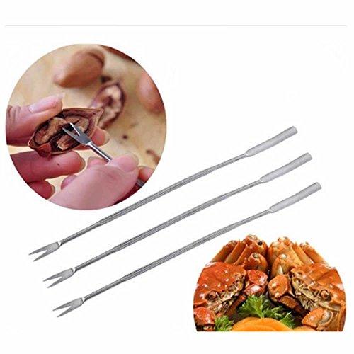 GOOTRADES Stainless Steel Olive Crab Lobster Fork Picks Handy Helper Nutcracker pack of 3