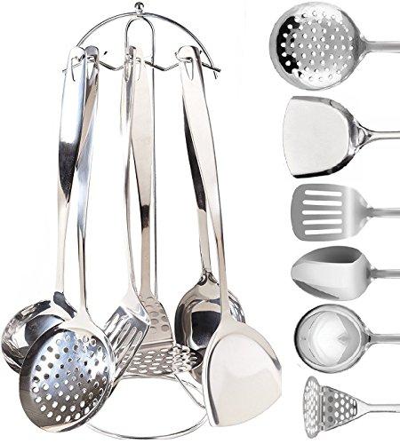 Stainless Steel Cooking Serving Utensil Set - 7 Piece Kitchen Utensils Set  Countertop Utensil Holder  Spoon Spatula Skimmer Soup Ladle Potato Masher Slotted Spatula