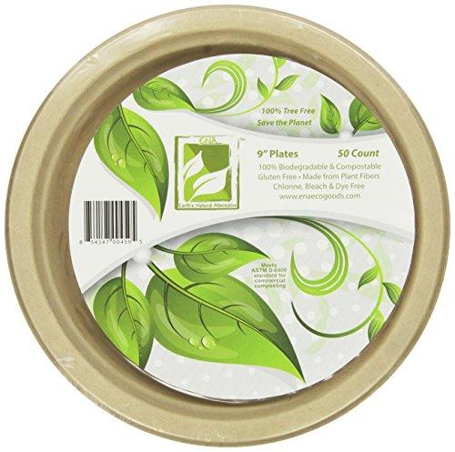 "Earth's Natural Alternative Wheat Straw Fiber, Bagasse (sugarcane) Tree Free 9"" Plate, 50 Pack"