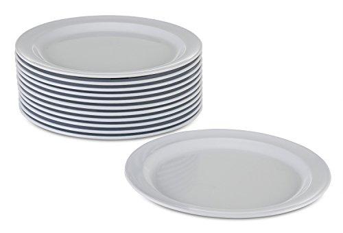 New Melamine Plates Dinnerware Set, 12 Pack Kitchenware Dinner Plates Set, 9-inch Durable Plastic Plates, Dishwasher