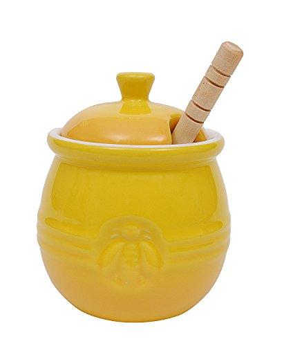 Creative Co-Op DA4177 Pot with Lid Wood Honey Dipper Yellow