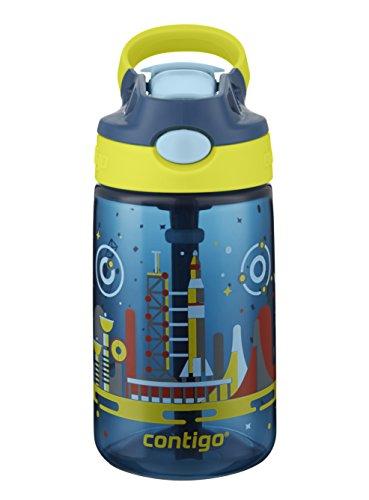 Contigo AUTOSPOUT Straw Gizmo Flip Kids Water Bottle 14 oz Nautical with Space Station