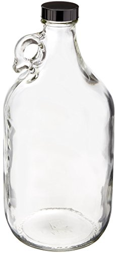 True Fabrications 12 Gallon Clear Glass Beer Growler - Reusable - With Poly Seal Cap - 64 ounce