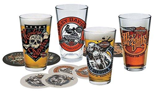 Harley-Davidson Free Wheeling Pint Glasses Set wCoasters 16 oz HDL-18778