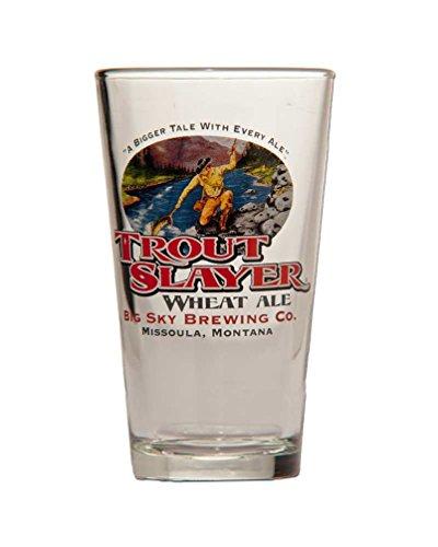 Trout Slayer Pint Glass  Set of 2 Glasses