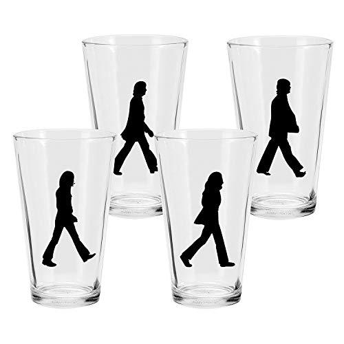Vandor Beatles Abbey Road Beer Pint Glasses - Set of 4 John Paul George and Ringo Silhouette Cups