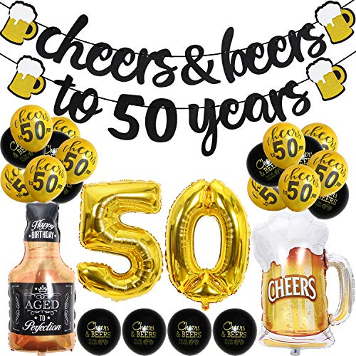 50 Year Anniversary Decorations - Cheers Beers to 50 Years Banner Fifty Sign Latex Balloon 40 inch50 Gold Balloon 35 inch Cheers Beers Cups Foil Balloons for 50th Birthday Wedding Party Supplies