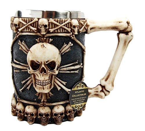 Atlantic Collectibles Large Skeletal Cross Bones Skull Beer Stein Tankard Coffee Cup Drink Mug 12oz