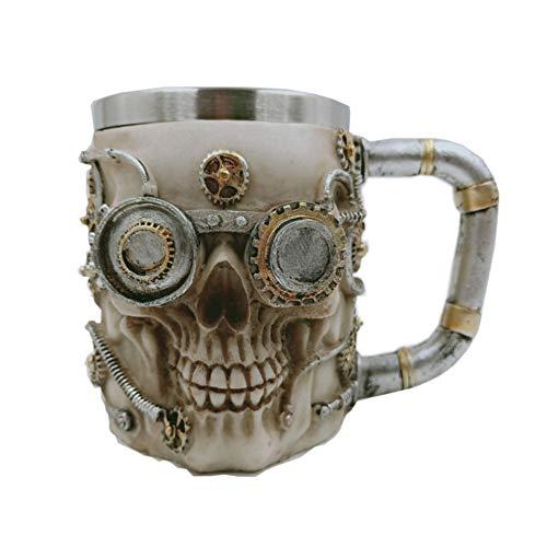 Skull Beer Coffee Mug Stainless Steel Viking Warrior Skull Beer Mugs Mechanical Gear Pipeline Design Beer Stein Tankard Drink Cup for Men Halloween Decor - 13oz