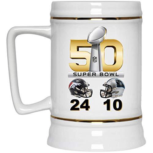 Denver Broncos Beer Mug Broncos Cup Super Bowl 50 L Champions Denver Broncos Final Score 22 oz White Ceramic Beer Stein NFL NFC AFC Perfect Unique Gift for any Broncos Fan