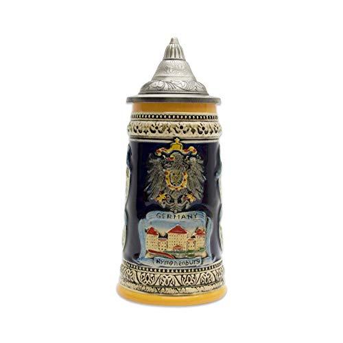 Engraved Ceramic Beer Stein German Landmarks with Ornate Metal Lid
