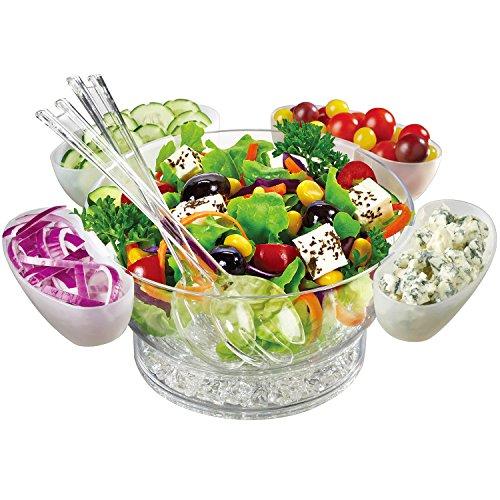 Jumbl Acrylic 6.5-quart 'orbit' Bowl On Ice - Includes 4 'floating' Salad Cups (8 Piece Set)