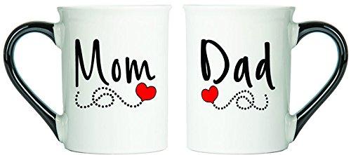 Mom Dad Mugs Heart Scroll Set Of Two Coffee Cups Spouse Mugs Ceramic Mugs Custom Gifts By Tumbleweed