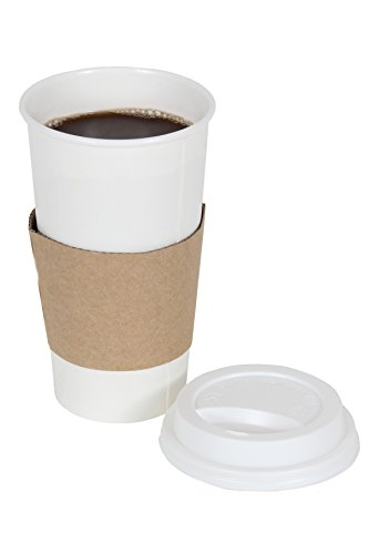 2dayShip White Paper Hot Coffee Cups with Lids and Sleeves White 20 Ounces 50 Count