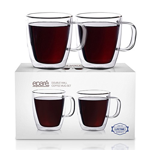 Eparé Insulated Coffee Cups Set 12 oz 350 ml – Double Wall Tumbler Glass Cup – Mug for Drinking Tea Latte Espresso Juice or Water – 2 Glasses