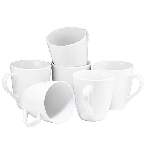 Coffee Mug Set Set of 6 Large-sized 16 Ounce Ceramic Coffee Mugs Restaurant Coffee Mugs By Bruntmor White
