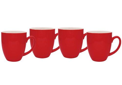 Culver 14-Ounce Bistro Ceramic Mug Set of 4 Red