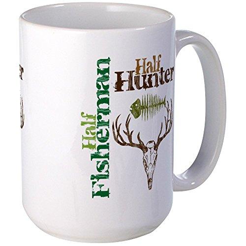 CafePress - Half Fisherman Half Hunter Large Mug - Coffee Mug Large 15 oz White Coffee Cup