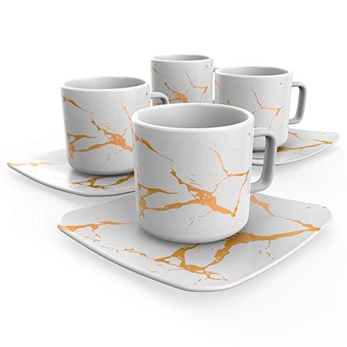 Modern Espresso Cups Italian Designed - Premium set of 4 Cups and Saucers White