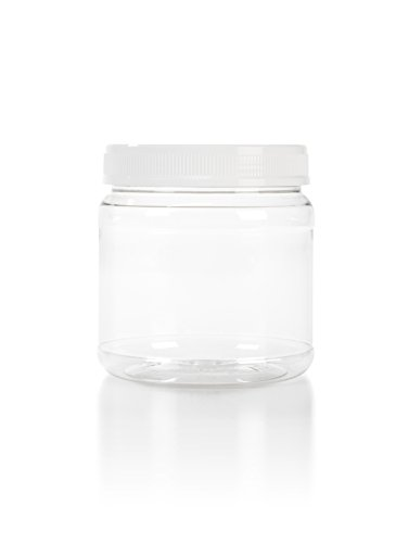6 38 oz Clear Plastic Wide Mouth Jar with White Lids 6Pack
