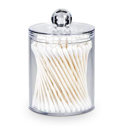 AOMOM Qtip Dispenser Apothecary Jars Bathroom - Qtip Holder Storage Canister Clear Plastic Jar for Cotton BallCotton SwabQ-TipsCotton Rounds