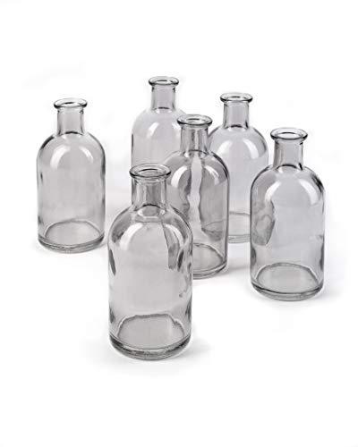 Bud Vases Apothecary Jars Decorative Glass Bottles Centerpiece for Wedding Reception Elegant Antique Decoration Mini Flower Vases Small Medicine Bottles for Home Decor Smoke Gray Set of 6